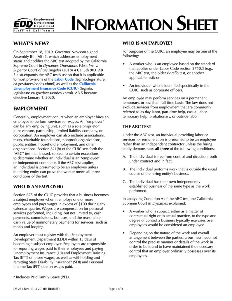 EDD Information Sheet
